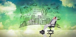 Image composée d'homme d'affaires détendant dans la chaise pivotante Images stock