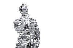 Image composée d'homme d'affaires dans les mots à la mode Image stock