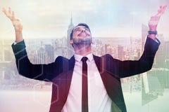 Image composée d'homme d'affaires encourageant avec des mains augmentées Images libres de droits
