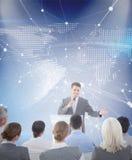 Image composée d'homme d'affaires faisant la parole au cours de la réunion Image stock