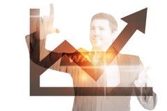 Image composée d'homme d'affaires heureux se dirigeant avec des doigts images libres de droits