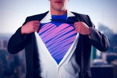 Image composée d'homme d'affaires ouvrant son style de super héros de chemise Image libre de droits