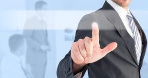 Image composée d'homme d'affaires se dirigeant avec son doigt photo libre de droits