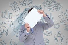 Image composée d'homme d'affaires tenant le signe vide devant sa tête Images libres de droits
