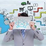 Image composée d'homme d'affaires tenant le signe vide devant sa tête Image libre de droits