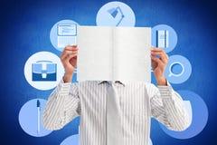 Image composée d'homme d'affaires tenant une carte blanche couvrant son visage Photos libres de droits