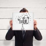 Image composée d'homme d'affaires tenant une carte blanche devant son visage Images libres de droits