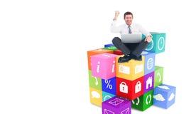 Image composée d'homme d'affaires utilisant l'ordinateur portable et encourager illustration de vecteur
