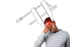 Image composée d'homme soumis à une contrainte avec la main sur son front Photographie stock libre de droits