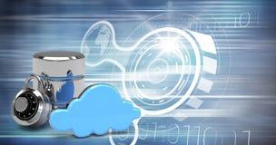 Image composée d'icône de serveur de base de données avec la serrure de combinaison et le nuage bleu Photo stock