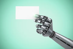 Image composée d'image composée de la plaquette blanche robotique 3d de participation de bras Image stock