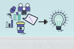Image composée d'image composée des icônes d'ordinateur se dirigeant vers l'ampoule illustration de vecteur