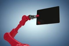 Image composée d'image composée du robot rouge et du comprimé numérique 3d Photo libre de droits