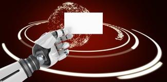 Image composée d'image composée numérique de la plaquette robotique blanche 3d de participation de bras Photos libres de droits
