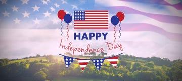 Image composée d'image digitalement composée de texte heureux de Jour de la Déclaration d'Indépendance illustration libre de droits