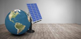 Image composée d'image digitalement composée du globe 3d avec le panneau solaire Image libre de droits