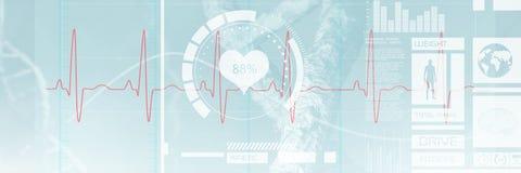 Image composée d'image digitalement produite de l'électrocardiographie 3d Images stock