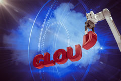 Image composée d'image du texte de encadrement 3d de nuage de bras robotique Image stock
