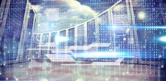 Image composée d'interface bleue de technologie avec le code binaire illustration stock