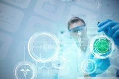 Image composée d'interface médicale de biologie dans le bleu photographie stock libre de droits