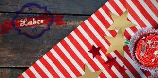 Image composée d'image composée numérique de bannière heureuse de Fête du travail Image libre de droits