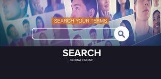 Image composée d'image composée numérique de logo de moteur de recherche photographie stock libre de droits