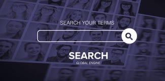 Image composée d'image composée numérique de logo de moteur de recherche photo libre de droits