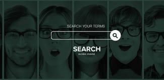 Image composée d'image composée numérique de logo de moteur de recherche Photographie stock