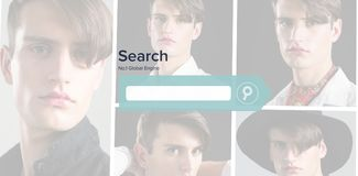 Image composée d'image composée numérique de page de moteur de recherche Images stock