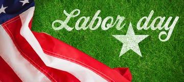 Image composée d'image composée numérique de texte heureux de Fête du travail avec la forme d'étoile photo libre de droits