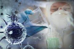 Image composée d'image numérique de virus bleu Images libres de droits