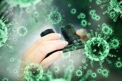 Image composée d'image numérique de virus vert Photos stock
