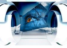 Image composée d'oeil et code binaire sur l'écran abstrait Photos stock