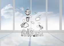 Image composée de ballon à air chaud au-dessus de ville Images stock
