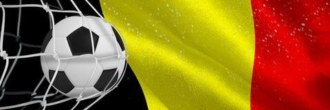 Image composée de ballon de football dans le filet de but illustration stock