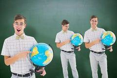 Image composée de ballot avec le globe Photographie stock