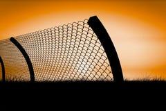 Image composée de barrière de chainlink par le fond blanc 3d Photo libre de droits