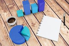 Image composée de bloc-notes avec des graphiques Image stock
