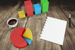 Image composée de bloc-notes avec des graphiques Photo stock