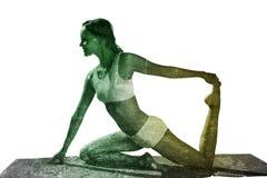 Image composée de blonde magnifique d'ajustement dans la pose posée de yoga illustration libre de droits