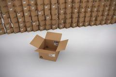 Image composée de boîte en carton vide par la pile de boîtes illustration libre de droits
