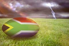 Image composée de boule de rugby de l'Afrique du Sud Photographie stock libre de droits