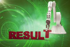 Image composée de bras robotique s'chargeant du texte 3d de résultat Photographie stock