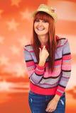 Image composée de chapeau de port de femme attirante de hippie Photos stock