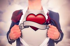 Image composée de chemise d'ouverture d'homme d'affaires dans le style de super héros Images libres de droits