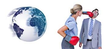Image composée de collègue de poinçon de femme d'affaires avec des gants de boxe illustration de vecteur