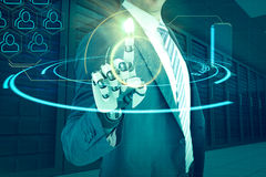 Image composée de composé d'homme d'affaires avec la main robotique 3d Images libres de droits
