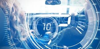 Image composée de compte à rebours de cadran d'interface avec la minuterie à l'arrière-plan bleu Photo stock