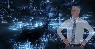Image composée de Digital d'homme d'affaires avec des équations de maths images libres de droits