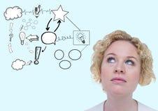 Image composée de Digital d'une femme réfléchie avec le griffonnage d'idée Image libre de droits